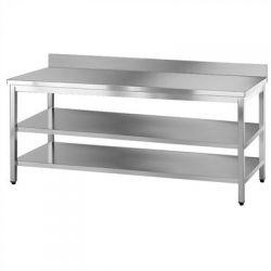 Tavolo inox con doppio ripiano inferiore e alzatina TGE7/7 2AR