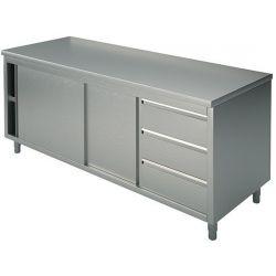 Tavolo armadiato inox con ante scorrevoli e cassettiera TASE3C 16/7