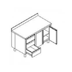 Tavolo inox armadiato battente con cassettiera e alzatina TABE3C 10/7 A